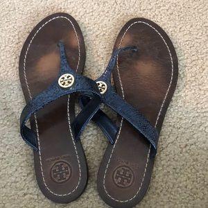 Tory Burch navy leather thong sandal